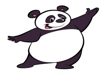 Happy cartoon panda character, making a presentation gesture